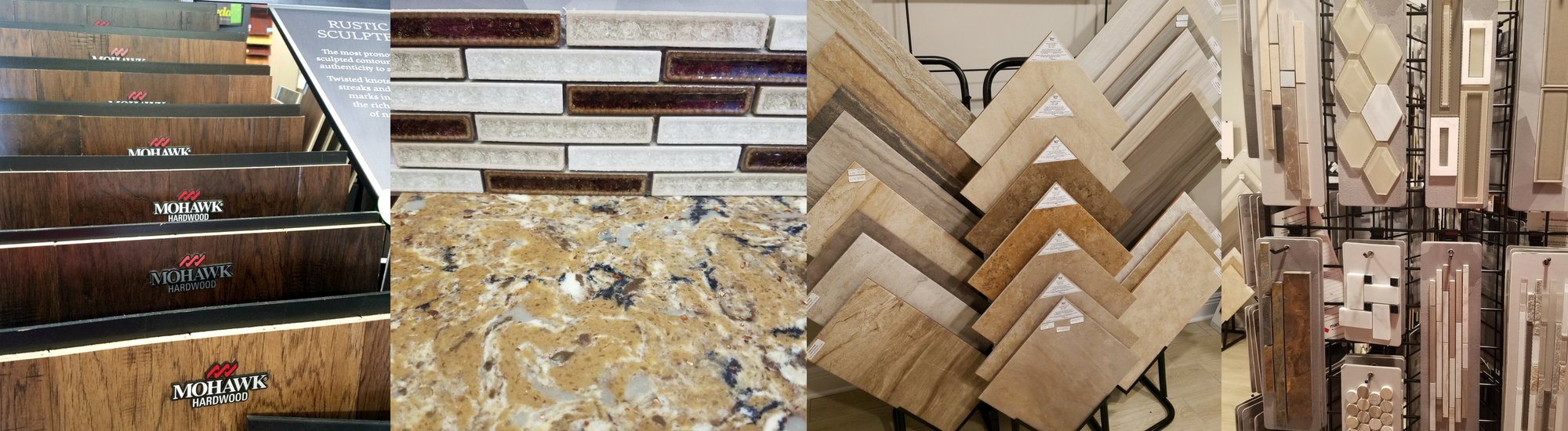 Collage of flooring and tile materials